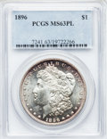 Morgan Dollars: , 1896 $1 MS63 Prooflike PCGS. PCGS Population (290/402). NGC Census:(182/323). Numismedia Wsl. Price for problem free NGC/...