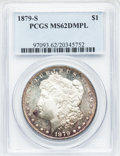 Morgan Dollars: , 1879-S $1 MS62 Deep Mirror Prooflike PCGS. PCGS Population(80/736). NGC Census: (32/536). Numismedia Wsl. Price for probl...