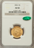 Three Dollar Gold Pieces: , 1854 $3 AU58 NGC. CAC. NGC Census: (1198/866). PCGS Population(461/618). Mintage: 138,618. Numismedia Wsl. Price for probl...