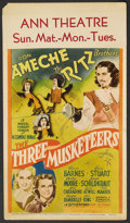 "Movie Posters:Adventure, The Three Musketeers (20th Century Fox, 1939). Midget Window Card(8"" X 14""). Adventure. ..."