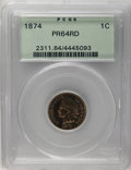 Proof Indian Cents: , 1874 1C PR64 Red PCGS. Snow-1. A well struck olive-gold near-Gem with impressive surfaces. A minute carbon fleck above the ...