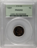 Proof Indian Cents: , 1891 1C PR65 Red PCGS. This boldly struck piece has a light gold obverse field and a rich orange reverse. Ruby-red and sea-...