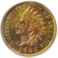 Proof Indian Cents: , 1905 1C PR65 Red and Brown PCGS. Daubs of gold, green, and copper-red compete with lemon-yellow and fuchsia on this vivid e...