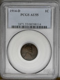 Lincoln Cents: , 1914-D 1C AU55 PCGS. A minimally circulated example of this traditional key, with natural reddish-brown color and only slig...