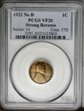 """Lincoln Cents: , 1922 No D 1C Strong Reverse VF20 PCGS. FS-013.2. Die Pair 2. Amoderately worn example of this popular """"error"""" variety. Abr..."""