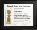 "Movie/TV Memorabilia:Awards, Peter Fonda HFPA Certificate of Nomination for ""The Tempest."" ThisHollywood Foreign Press Association Certificate of Nomina...(Total: 1 Item)"
