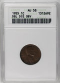 Lincoln Cents: , 1955/55 1C Doubled Die Obverse AU58 ANACS. FS-021.8. A partly lustrous chocolate-brown example with trivial contact and a w...