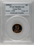 Proof Lincoln Cents: , 1970-S 1C Large Date PR69 Deep Cameo PCGS. A fully struck proof Cent with dappled orange and brick-red color. The Low 7 (or...