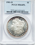 Morgan Dollars: , 1901-O $1 MS64 Prooflike PCGS. PCGS Population (281/159). NGCCensus: (385/169). Numismedia Wsl. Price for problem free NG...