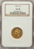 Three Dollar Gold Pieces: , 1878 $3 AU58 NGC. NGC Census: (1352/2940). PCGS Population(939/3450). Mintage: 82,304. Numismedia Wsl. Price for problem f...