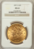 Liberty Double Eagles: , 1897-S $20 MS63 NGC. NGC Census: (1819/328). PCGS Population(1714/439). Mintage: 1,470,250. Numismedia Wsl. Price for prob...