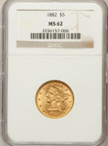 Liberty Half Eagles: , 1882 $5 MS62 NGC. NGC Census: (2530/1764). PCGS Population(1288/834). Mintage: 2,514,568. Numismedia Wsl. Price for proble...