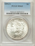 Morgan Dollars: , 1896-S $1 MS63 PCGS. PCGS Population (502/498). NGC Census:(202/215). Mintage: 5,000,000. Numismedia Wsl. Price for proble...
