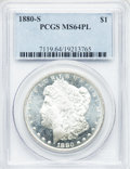 Morgan Dollars: , 1880-S $1 MS64 Prooflike PCGS. PCGS Population (4192/3254). NGCCensus: (3605/2825). Numismedia Wsl. Price for problem fre...