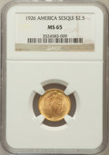 Commemorative Gold: , 1926 $2 1/2 Sesquicentennial MS65 NGC. NGC Census: (1121/86). PCGSPopulation (1917/152). Mintage: 46,019. Numismedia Wsl. ...