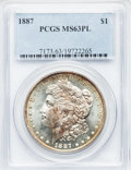Morgan Dollars: , 1887 $1 MS63 Prooflike PCGS. PCGS Population (612/1026). NGCCensus: (501/1023). Numismedia Wsl. Price for problem free NG...