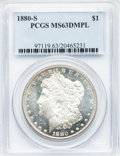 Morgan Dollars: , 1880-S $1 MS63 Deep Mirror Prooflike PCGS. PCGS Population(662/1733). NGC Census: (385/1330). Numismedia Wsl. Price for p...