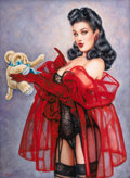 Pin-up and Glamour Art, OLIVIA DE BERARDINIS (American, b. 1948). Fuzzy Wuzzy (Dita VonTeese), 1999. Watercolor and gouache on board. 26.75 x 1...