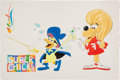 Animation Art:Limited Edition Cel, Ron Campbell Super Chicken and Fred Illustration OriginalArt (undated)....