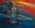 Pulp, Pulp-like, Digests, and Paperback Art, JOHN CONRAD BERKEY (American, 1932-2008). Flying Through theAtmosphere. Acrylic and casein on board. 19.75 x 24.75 in. ...