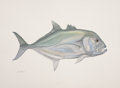 Mainstream Illustration, FLICK FORD (American, b. 1954). IGFA All-Tackle World RecordGiant Trevally, 2008. Watercolor on paper. 22.5 x 30 in.. S...