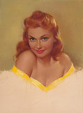 Pin-up and Glamour Art, PEARL ALERYN FRUSH (American, 20th Century). Redhead Pin-Up inYellow. Pastel on board. 20 x 18.5 in. (image). Not signe...