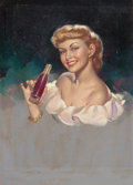 Pin-up and Glamour Art, PEARL ALERYN FRUSH (American, 20th Century). Grapette Soda Girl,advertisement, circa 1950s. Oil on canvas laid on board...