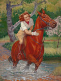 Mainstream Illustration, ELLEN BARBARA SEGNER (American, d. 2001). Beauty on a Horse.Oil on canvas. 40 x 30 in.. Signed lower left. ...