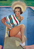 Pin-up and Glamour Art, ELLEN BARBARA SEGNER (American, d. 2001). Bathing Beauty.Oil on canvas. 36 x 25 in.. Signed lower right. ...
