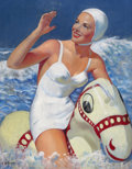 Pin-up and Glamour Art, ELLEN BARBARA SEGNER (American, d. 2001). Ocean Fun. Oil oncanvas. 32 x 25 in.. Signed lower left. ...