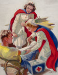 Pin-up and Glamour Art, ELLEN BARBARA SEGNER (American, d. 2001). Helping the Wounded,probable Red Cross advertisement. Oil on canvas. 40 x 30 ...