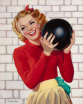 Pin-up and Glamour Art, ELLEN BARBARA SEGNER (American, d. 2001). Looking Pretty (whilebowling). Oil on canvas. 30 x 24 in.. Signed lower left...