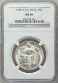 Commemorative Silver: , 1936-D 50C San Diego MS66 NGC. NGC Census: (433/47). PCGSPopulation (768/75). Mintage: 30,092. Numismedia Wsl. Price forp...