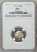 Roosevelt Dimes: , 1947-S 10C MS67 NGC. NGC Census: (821/5). PCGS Population (304/1).Mintage: 34,840,000. Numismedia Wsl. Price for problem f...