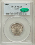 Shield Nickels, 1883 5C MS64 PCGS. CAC. PCGS Population (495/326). NGC Census:(419/370). Mintage: 1,456,919. Numismedia Wsl. Price for pro...