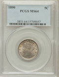 Liberty Nickels: , 1890 5C MS64 PCGS. PCGS Population (153/66). NGC Census: (117/59).Mintage: 16,259,272. Numismedia Wsl. Price for problem f...