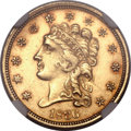 Classic Quarter Eagles, 1836 $2 1/2 Script 8 MS61 NGC. CAC. Variety-13, R.4....