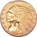 Indian Half Eagles, 1909-O $5 AU58 PCGS. CAC....