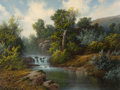 Paintings, A.D. GREER (American, 1904-1998). River Falls in the Hill Country. Oil on canvas . 30 x 40 inches (76.2 x 101.6 cm). Sig...