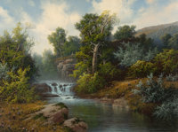A.D. GREER (American, 1904-1998) River Falls in the Hill Country Oil on canvas 30 x 40 inches (7