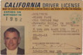 Movie/TV Memorabilia:Autographs and Signed Items, A Glenn Ford Driver's License, 1978-1982....