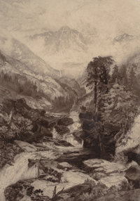 THOMAS MORAN (American, 1837-1926) Mountain of the Holy Cross, circa 1888 Etching 26-1/4 x 18-1/4