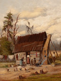 American:Regional, WILLIAM AIKEN WALKER (American, 1838-1921). Wash Day. Oil onboard. 12-1/4 x 9-1/4 inches (31.1 x 23.5 cm). Signed lower...