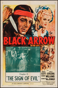 "Black Arrow (Columbia, R-1955). One Sheet (27"" X 41"") Chapter 13 -- ""The Sign of Evil."" Serial"