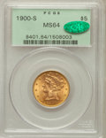 Liberty Half Eagles: , 1900-S $5 MS64 PCGS. CAC. PCGS Population (146/12). NGC Census:(76/4). Mintage: 329,000. Numismedia Wsl. Price for problem...