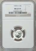 Roosevelt Dimes, 1959-D 10C MS67 Full Torch NGC. NGC Census: (112/1). PCGSPopulation (64/1). Mintage: 164,919,792. Numismedia Wsl. Pricefo...