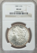 Morgan Dollars: , 1880-S $1 MS64 NGC. NGC Census: (51056/45984). PCGS Population(52516/44008). Mintage: 8,900,000. Numismedia Wsl. Price for...