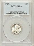 Mercury Dimes: , 1929-S 10C MS66 PCGS. PCGS Population (43/4). NGC Census: (41/6).Mintage: 4,730,000. Numismedia Wsl. Price for problem fre...