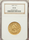 Liberty Eagles: , 1849 $10 XF45 NGC. NGC Census: (182/479). PCGS Population (91/162).Mintage: 653,618. Numismedia Wsl. Price for problem fre...