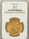 Liberty Double Eagles: , 1862-S $20 AU55 NGC. NGC Census: (113/165). PCGS Population(36/54). Mintage: 854,173. Numismedia Wsl. Price for problem fr...